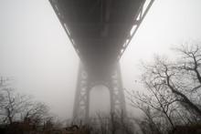 Fog. George Washington Bridge In A Foggy Day