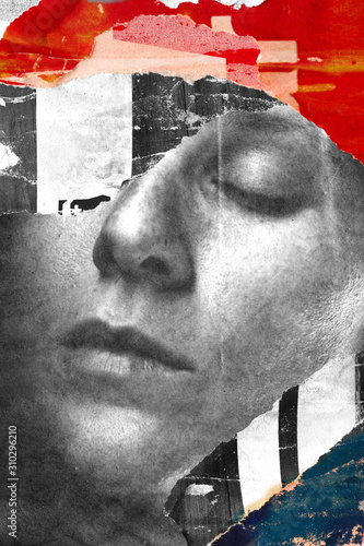 Torn ripped street posters paper  blended woman portrait Canvas Print