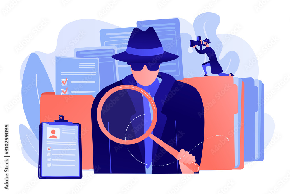 Fototapeta Secret agent searching clues and spying investigating case. Private investigation, private detective agency, private investigator services concept. Pink coral blue vector isolated illustration
