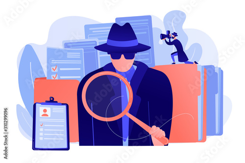 Secret agent searching clues and spying investigating case Wallpaper Mural