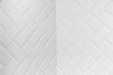 Internal Angle Of Beveled White Matt Ceramic Tiles Pattern Herringbone On Wall.