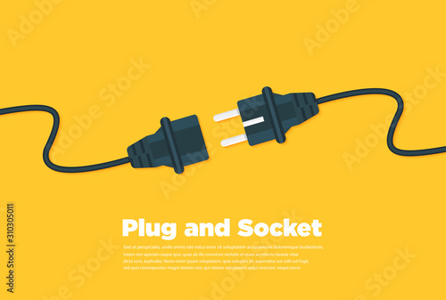 Cuadros en Lienzo Get connected plug and socket flat icon