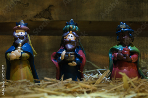 Photo Christmas nativity scene of baby Jesus in the manger