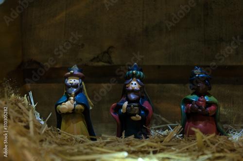 Christmas nativity scene of baby Jesus in the manger Canvas Print