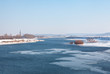 winter natural scenery with ice on the river water