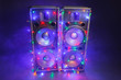 canvas print picture - music speakers with festive Christmas lights and smoke