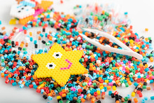 Toy In Star Form. Just Made Of Fusible Beads. Set, Close Up View