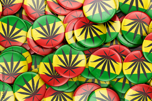 Badges with Rasta flag, 3D rendering Wallpaper Mural