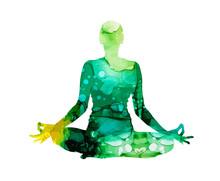 Girl In Lotus Position. Yoga Watercolor Silhouette. Abstract Vector Illustration.