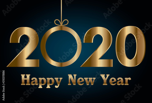 Fototapeta  Happy new year 2020 and sphere vector design