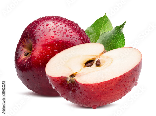 red apple with half in water drops isolated on a white background