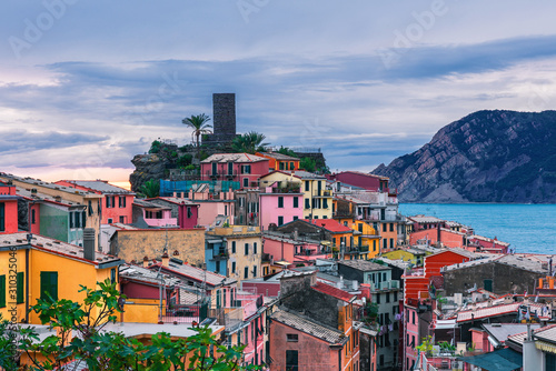 Old Italian village of Vernazza, on the Cinque Terre coast of Italy, Liguria