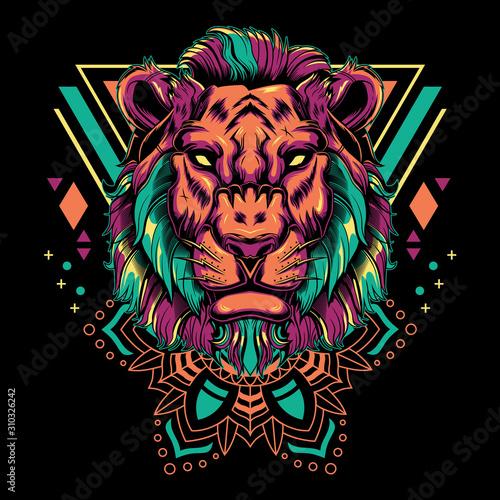 Modern lion head mandala geometry vector illustration on black background for t-shirt, sticker, posters. Animal tattoo style