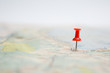 Leinwandbild Motiv Selective focus of  Red pin on map background