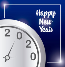 Happy New Year 2020 And Clock Vector Design