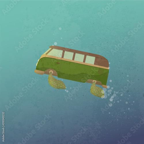 Kombi on the sea Canvas Print
