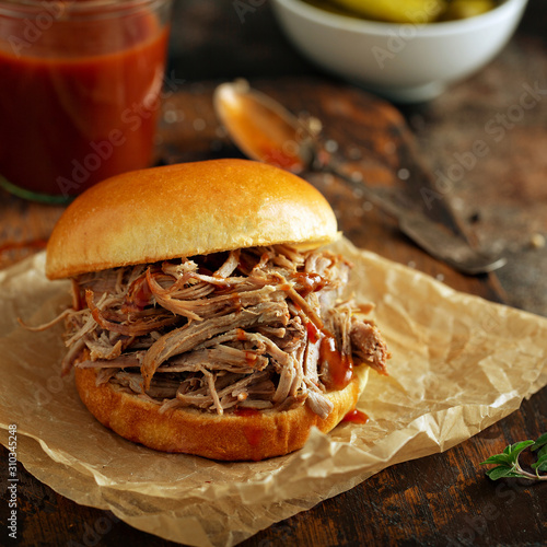 Pulled pork sandwich with brioche buns and pickles Wallpaper Mural