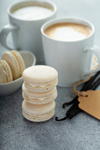 Vanilla Macarons Stacked With ...