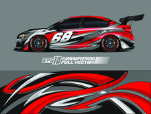 Racing Car Wrap Decal Vector. Graphic Abstract Stripe Racing Background Kit Designs For Wrap Vehicle, Race Car, Rally, Adventure And Livery. Full Vector Eps 10
