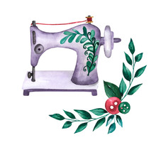 Sewing Machine. Cute Watercolo...