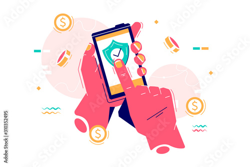 Obraz Mobile payment via internet app - fototapety do salonu