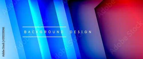 Fototapety, obrazy: Arrow lines, technology digital template with shadows and lights on gradient background. Trendy simple fluid color gradient abstract background with dynamic straight shadow lines effect