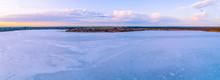 Scenic Pink Salt Lake At Dawn In Australia - Aerial Panorama