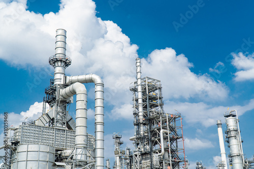 Oil and gas industrial,Oil refinery plant form industry,Refinery factory oil sto Canvas Print