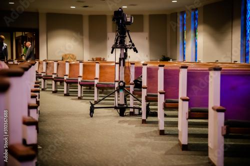 Valokuvatapetti Technology in the Church empty pews
