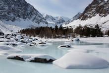 Altai Mountain Frozen Lake Wit...