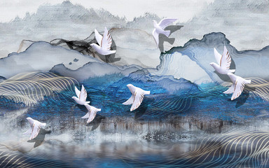 Panel Szklany 3D 3d illustration, abstract grunge background, gray and blue waves, smoke, white gilded ceramic birds