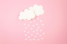 White Paper Hearts And Clouds Over Pink Background. Abstract Background With Paper Cut Shapes. Sainte Valentine, Mother's Day, Birthday Greeting Cards, Invitation, Celebration