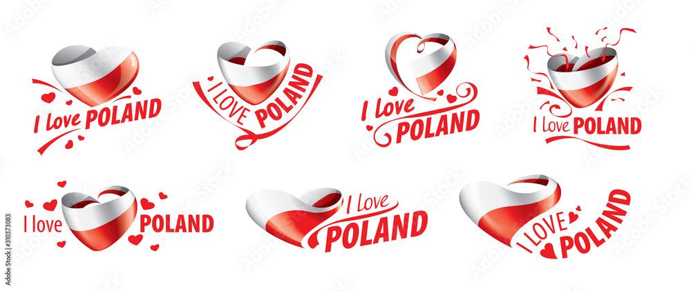 Fototapeta The national flag of the Poland and the inscription I love Poland. Vector illustration