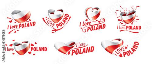 Obraz The national flag of the Poland and the inscription I love Poland. Vector illustration - fototapety do salonu