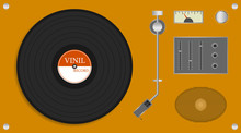Vintage Vinyl Record Player. Realistic Yellow Record Player With Audio Speaker And Vinyl Disc. Vector Illustration Of A Record.