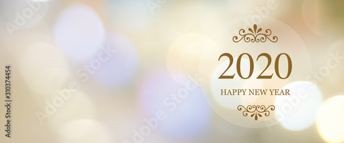 Obraz Happy New Year 2020 on blur abstract bokeh background with copy space for text, new year greeting card, banner - fototapety do salonu