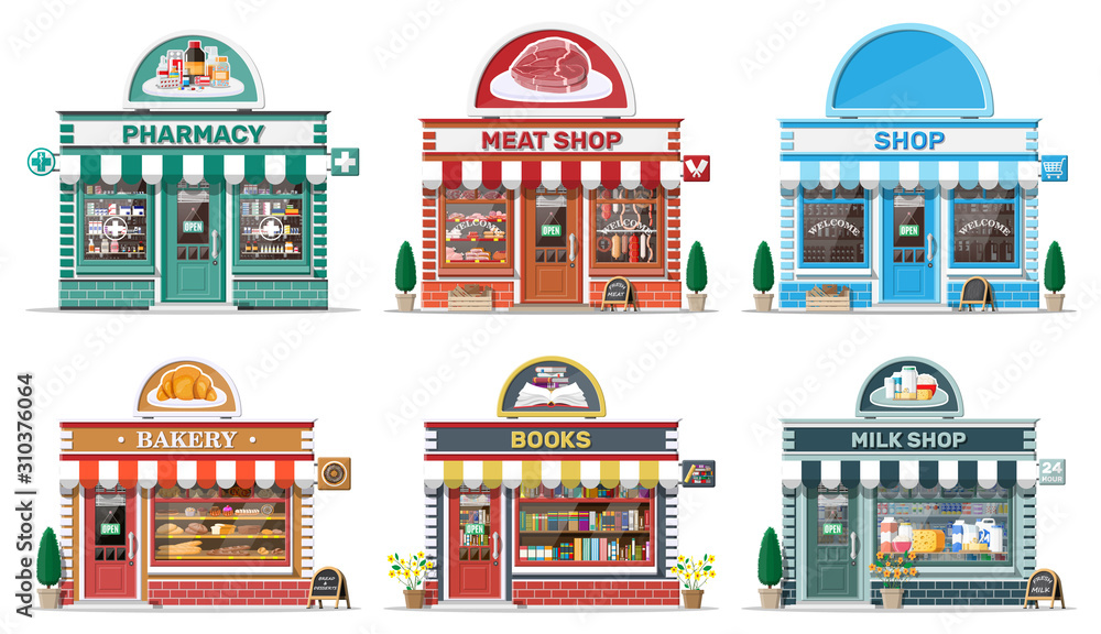 Fototapeta Set of detailed city shop buildings. Bakery, book, milk, meat, pharmacy, grocery store. Small european style shop exterior. Commercial, property, market or supermarket. Flat vector illustration