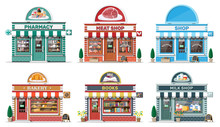 Set Of Detailed City Shop Buildings. Bakery, Book, Milk, Meat, Pharmacy, Grocery Store. Small European Style Shop Exterior. Commercial, Property, Market Or Supermarket. Flat Vector Illustration