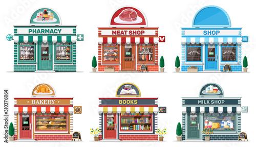 Fotografía Set of detailed city shop buildings