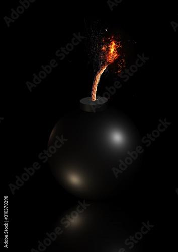Fototapeta 導火線に火が付いた爆弾