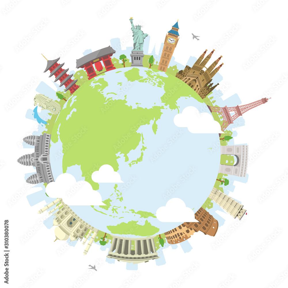 Fotografia world travel circular vector illustration ( world famous buildings / world herit