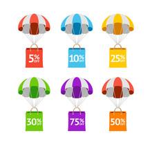 Color Sale Labels Sign Icon Set. Vector