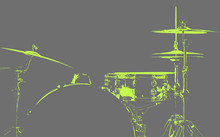 Drum Kit. Light Green Silhouette Of Drums. Beautiful Gray Background. Musical Instrument.