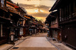 canvas print picture - Narai-juku, Japan. Picturesque view of old Japanese town with traditional wooden architecture. Narai-juku post town in Kiso Valley, Japan