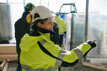 Female Construction Worker On ...
