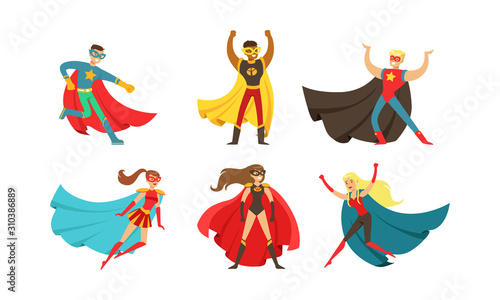 Fotografía Superheroes Characters in Different Poses Vector Set