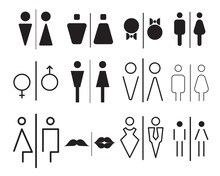 WC Icon Set. Toilet Sign Collection For Public Navigation. International Restroom Symbol