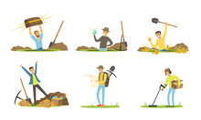 Treasure Hunter Holding Metal Sensor And Spade Looking For Gemstones Vector Illustrations Set