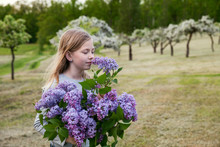 Girl With Lilac Flowers