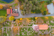 Aerial View Of Church And Cemetery